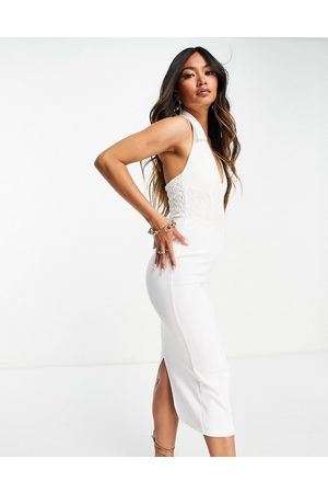 ASOS DESIGN Sleeveless shirt midi pencil dress with corsetted lace waist in white