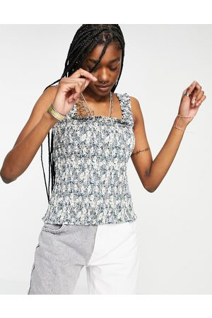 Object Organic cotton shirred cami top in floral-Green