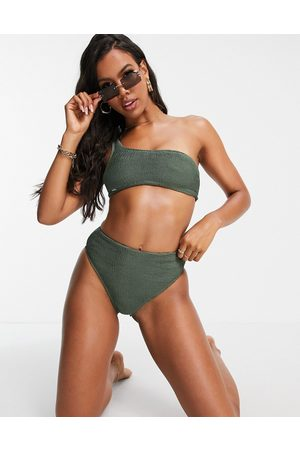 Free Society Mix and match one-shoulder scrunch crop bikini top in khaki-Green