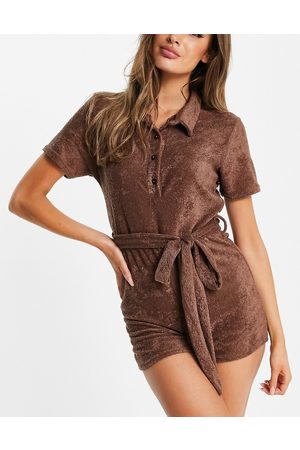 Missguided Towelling playsuit with collar in