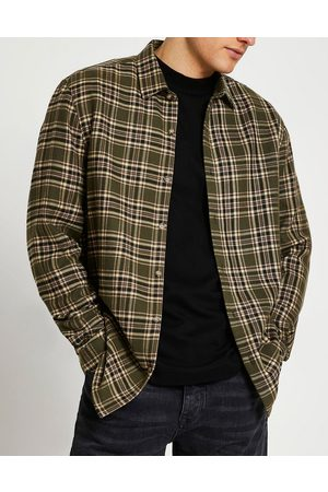 River Island Long sleeve mixed direction check shirt in green