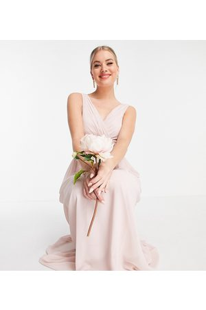 Little Mistress Tall Bridesmaid v-neck maxi dress in pink