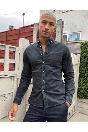 ASOS DESIGN Stretch slim denim shirt in -Grey