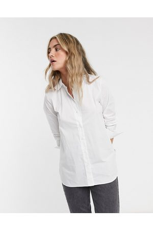 SELECTED Femme organic cotton blend shirt with side zip in