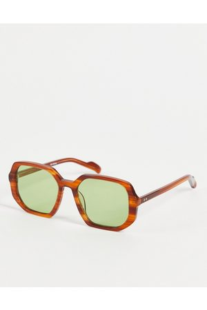 Spitfire Women Sunglasses - Cut Twenty Nine women's square sunglasses in brushed with green lens-Brown