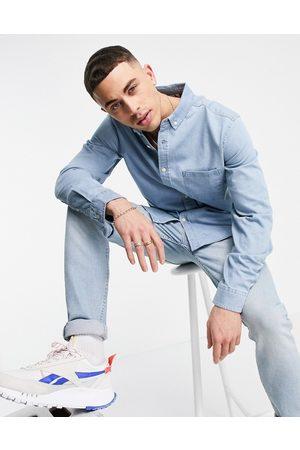 ASOS DESIGN Slim denim shirt in -Blue