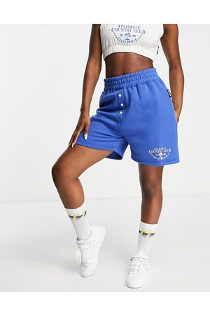 Missguided Playboy Sports co-ord runner shorts in blue