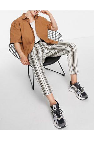 Topman Men Skinny Pants - Skinny stripe drawstring waist pants in neutral and