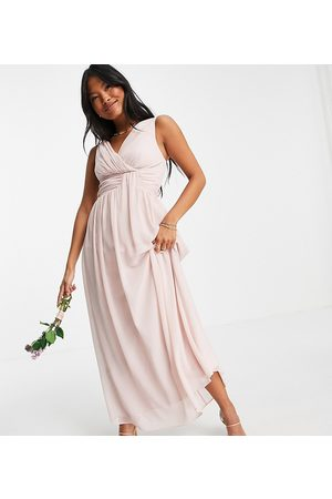 Little Mistress Bridesmaid v neck maxi dress in pink