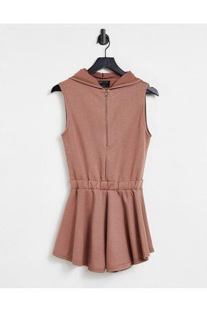ASOS Sleeveless sweat hoodie playsuit in -Brown