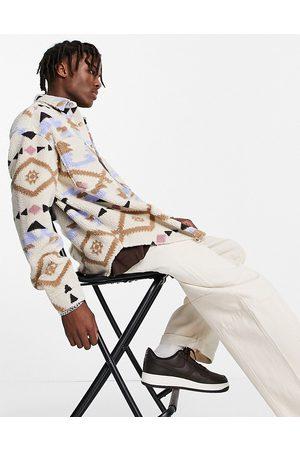 ASOS DESIGN Men Casual - 90s oversized Aztec print shirt in borg