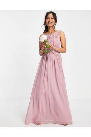 Little Mistress Women Maxi Dresses - Bridesmaids tie waist maxi dress in pink