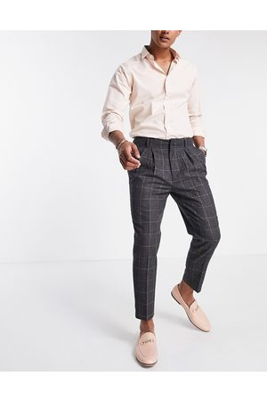 ASOS DESIGN Tapered smart pants in wool mix check-Grey