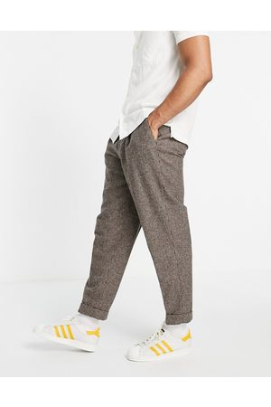 ASOS DESIGN Oversized tapered smart pants in puppytooth-Neutral