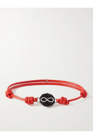TATEOSSIAN Waxed-Cord, Stainless Steel and Carbon Bracelet