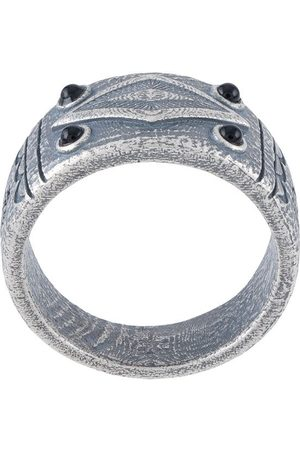 Nialaya Men Rings - Engraved vintage onyx ring