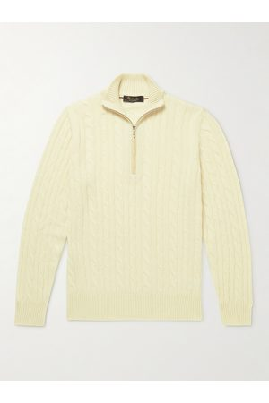 Loro Piana Men Sweaters - Suede-Trimmed Cable-Knit Baby Cashmere Half-Zip Sweater