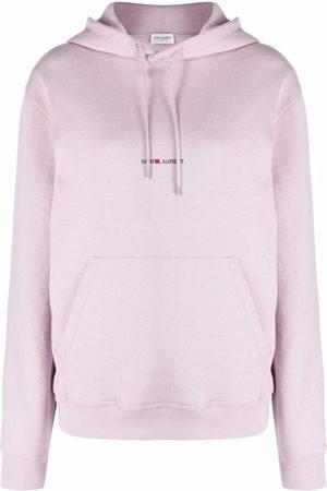 Saint Laurent Women Hoodies - Logo-print drawstring hoodie