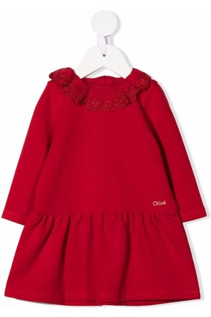 Chloé Embroidered-ruffle collar smock dress