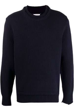 Maison Margiela Layered-collar elbow-patch distressed jumper