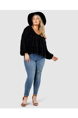 The Poetic Gypsy Women Skinny - Earth Laughs Skinny Jeans - High-Waisted Earth Laughs Skinny Jeans