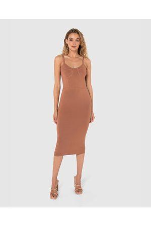 Madison The Label Women Bodycon Dresses - Portia Knit Dress - Bodycon Dresses (Chocolate) Portia Knit Dress