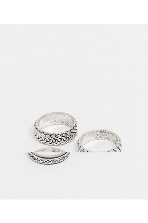 ASOS 3 pack band ring set with embossing in burnished tone