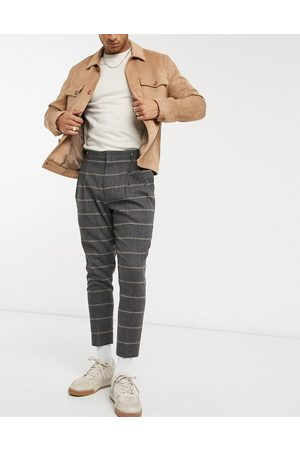 ASOS Tapered cropped double pleat smart pants in wool-mix check-Grey