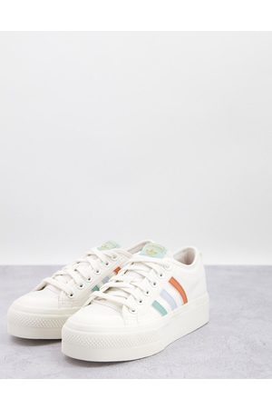adidas Originals Nizza Platform sneakers in with coloured three stripes