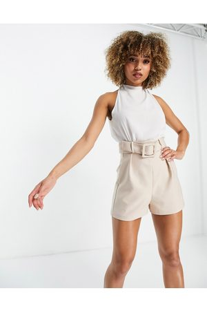 ASOS DESIGN 2 in 1 belted playsuit in and white-Neutral