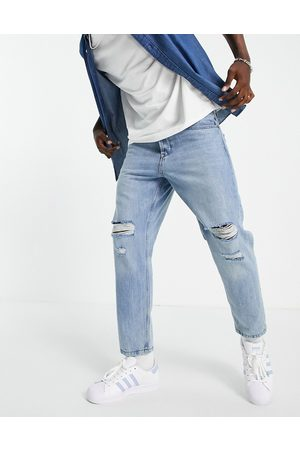 Only & Sons Tapered fit jeans with rips in light bluewash