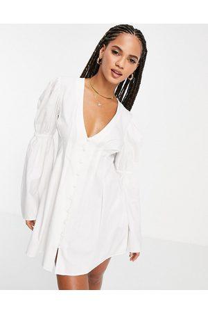 ASOS DESIGN Button front beach dress in cotton