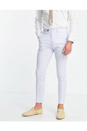 ASOS Wedding super skinny suit pants in cotton linen