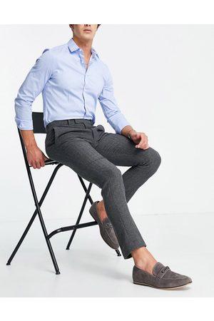ASOS DESIGN Wedding skinny wool mix suit pants in herringbone-Grey