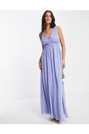 Little Mistress Bridesmaids v neck maxi dress in blue