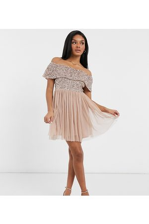 Maya Women Party Dresses - Bridesmaid off-the-shoulder mini tulle dress with tonal delicate sequin in -Pink