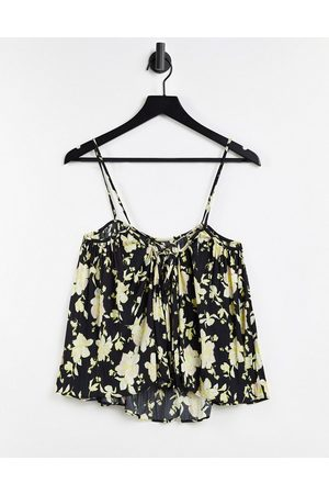 Free People Hot Take printed tired floral cami in black