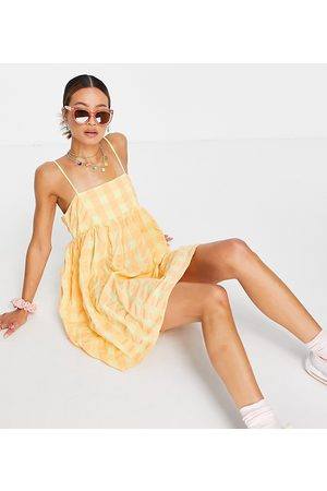 COLLUSION Gingham seersucker trapeze mini sundress in and yellow-Multi