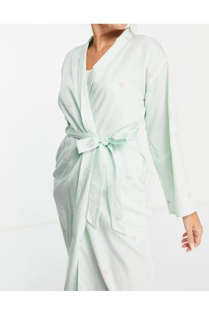 Y.A.S Exclusive embroidered palm tree long robe in mint-Green