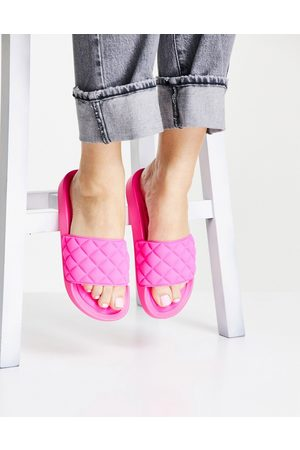 Glamorous Quilted slide sandals in hot