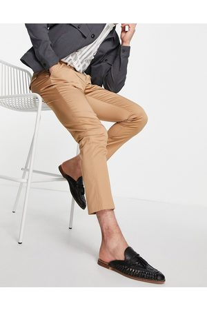 Devils Advocate Men Chinos - Devil's Advocate co-ord pleated slim fit pants-Brown