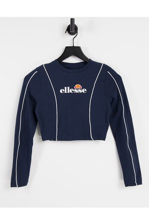 ellesse Long sleeve crop top with piping in