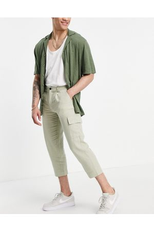 ASOS Co-ord tapered pants in light green-Grey
