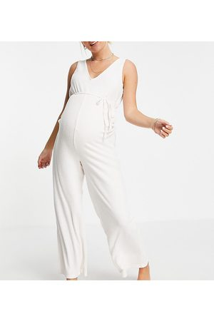 ASOS ASOS DESIGN Maternity mix & match lounge super soft rib jumpsuit with waist tie in -White