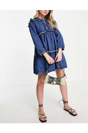 Topshop Frill tiered dress in Mid Blue wash