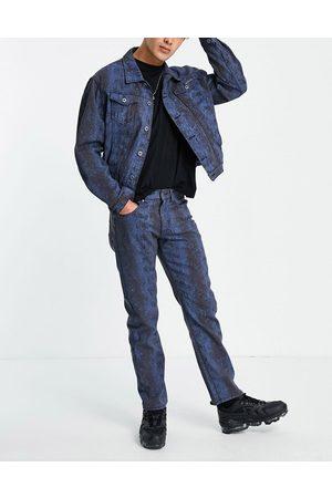 Liquor N Poker Snake print straight leg jeans co-ord in -Black