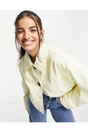 ASOS Women Leather Jackets - Cropped faux leather jacket in -Yellow