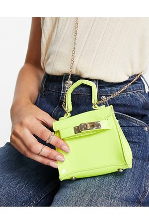Truffle Collection Women Shoulder Bags - Micro mini grab bag with chain in -Yellow