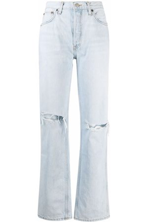 RE/DONE Women Straight - Destroyed bleach jeans