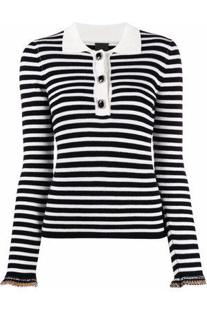 Pinko Women Polo Shirts - Striped ribbed-knit polo top